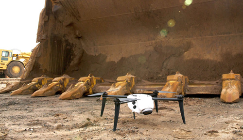Drone by excavator